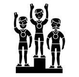 Sport di squadra del podio del vincitore - primo posto - olympics icona, illustrazione di vettore, segno nero su fondo isolato illustrazione vettoriale