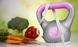 Sport diet, Calorie, measure tape Stock Photos