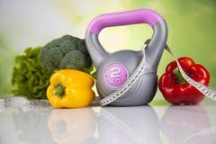 Sport diet, Calorie, measure tape Stock Images