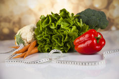 Sport diet, Calorie, measure tape Royalty Free Stock Image