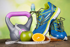 Sport diet, Calorie, measure tape Royalty Free Stock Photo