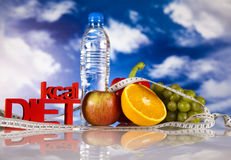Sport diet, Calorie, measure tape Stock Image