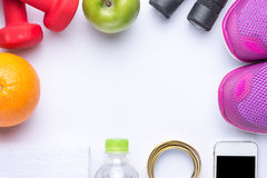 Sport and diet frame. Different tools for sport and diet food - sport, health and diet concept Stock Photo
