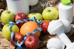 Sport and diet. Fruits and fresh water stock photo