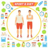 Sport and Diet Male Poster Vector Illustration royalty free illustration