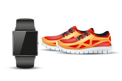 Sport digital smart watch and sneakers. Royalty Free Stock Images