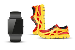 Sport digital smart watch and sneakers. Royalty Free Stock Photography