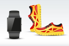 Sport digital smart watch and sneakers. Stock Images