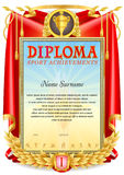 Sport Diploma blank template Royalty Free Stock Image