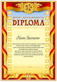 Sport Diploma blank template. Sport piploma template with vintage frame border, ribbon around composition adn other floral elements. Red color gamma Royalty Free Stock Photo