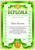 Sport Diploma blank template. Sport Diploma blank tenplate with hard vintage frame border, ribbons and floral elements stock illustration