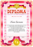 Sport Diploma blank template. Sport Diploma blank tenplate with hard vintage frame border, ribbons and floral elements royalty free illustration