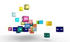 Sport domain names. Domain names words on vibrant multicolored plastic reflective cubes. Relative to business and finance theme. Internet and web Royalty Free Stock Photo