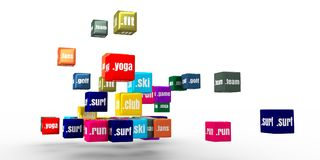 Sport domain names. Domain names words on vibrant multicolored plastic reflective cubes. Relative to sport theme. Internet and web telecommunication concept. 3D Royalty Free Stock Photo