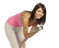 Sport dressed training woman. Isolated sport dressed training woman stock image