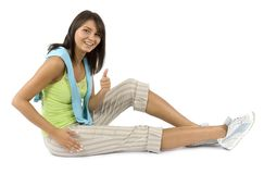 Sport Dressed Woman Does Exercise Royalty Free Stock Photography