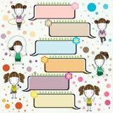 Sport dziewczyny kreskówki i rama teksta wektoru ilustracja Zdjęcie Royalty Free