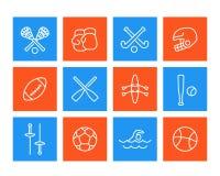 Sport ed icone dei giochi, stile lineare Fotografia Stock Libera da Diritti