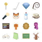 Sport, education, animal and other web icon in cartoon style.History, mineral, cinema icons in set collection. Royalty Free Stock Images