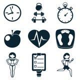 Sport-Eignung und Gesundheit lokalisierten die eingestellten Ikonen Stockbilder