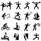 Sport-, Eignungs-, Tätigkeits- und Übungsikonensatz Stockfoto