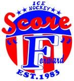 Sport-Eis-Hockey-Emblem-Mann-T-Shirt Grafikdesign-Vektor Vektor Abbildung