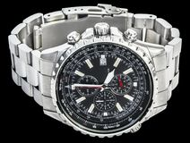 Sport Electronic Chronograph With Black Dial And Stainless Steel Band Isolated On Black Background Royalty Free Stock Photo