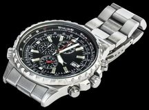 Sport Electronic Chronograph With Black Dial And Stainless Steel Band Isolated On Black Background Royalty Free Stock Photos