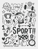 Sport elements doodles hand drawn line icon,eps10 Stock Photo
