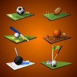 Sport Emblem Icons Set. Realistic sport emblem icons set of football soccer baseball golf hockey basketball and baseball isolated vector illustration Royalty Free Stock Photo
