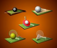 Sport Emblem Icons Set. Realistic sport emblem icons set of table tennis billiards badminton volleyball isolated vector illustration Stock Photo
