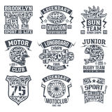 Sport emblem set graphic design for t-shirt. Rugby, moto, longboard college sport emblem graphic design for t-shirt. Monochrome print on a light background Royalty Free Stock Images