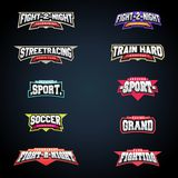 Sport emblem typography set. Super logo for your t-shirt. Mega logotype collection.  Royalty Free Stock Photography
