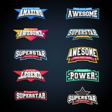 Sport emblem typography set. Super logo for your t-shirt. Mega logotype collection Royalty Free Stock Photo