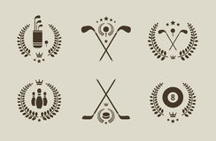 Sport emblems. Vector set of six professional sport emblems Royalty Free Stock Image