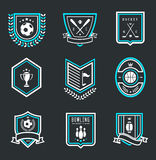 Sport emblems. Vector set of nine modern sport emblems Stock Photography