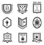 Sport emblems. Vector set of nine outlined sport emblems Stock Photos
