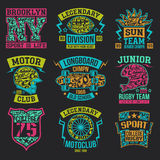 Sport emblems graphic design for t-shirt. Rugby, motoclub, longboard college sport emblem graphic design for t-shirt. Bright print on a dark background Royalty Free Stock Photos