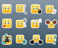 Sport emoticon smile stickers set Stock Photos