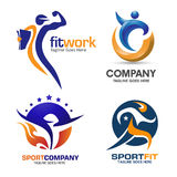 Sport en fitness embleemreeks Stock Afbeelding