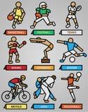 Sport en fitness geplaatste pictogrammen Royalty-vrije Stock Foto
