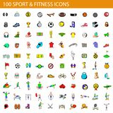 100 sport en fitness geplaatste pictogrammen, beeldverhaalstijl royalty-vrije illustratie