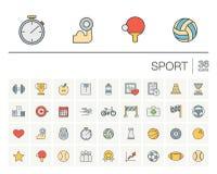 Sport en fitness kleuren vectorpictogrammen Royalty-vrije Stock Foto's