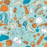 Sport en fitness naadloos krabbelpatroon Stock Foto