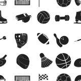 Sport en fitness patroonpictogrammen in zwarte stijl Grote inzameling van sport en fitness de vectorillustratie van de symboolvoo Royalty-vrije Stock Foto