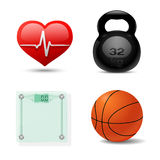 Sport en Fitness Pictogramreeks. Vector Royalty-vrije Stock Afbeelding