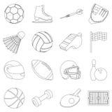 Sport en fitness vastgestelde pictogrammen in overzichtsstijl Grote inzamelingssport en fitness vectorsymbool Royalty-vrije Stock Afbeeldingen