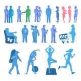 Sport en fysieke inactiviteitreeks Goede en slechte gewoonten Royalty-vrije Stock Afbeelding
