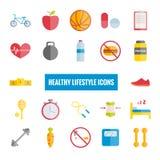 Sport en gezonde levensstijl vlakke pictogrammen Stock Afbeeldingen