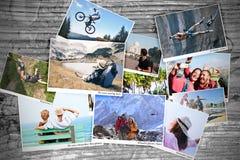 Sport en reisgeheugenfoto's Stock Afbeelding